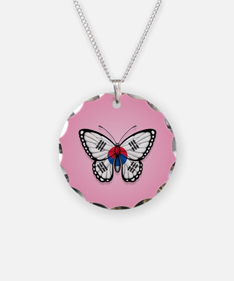 South Korean Flag Butterfly on Pink Necklace