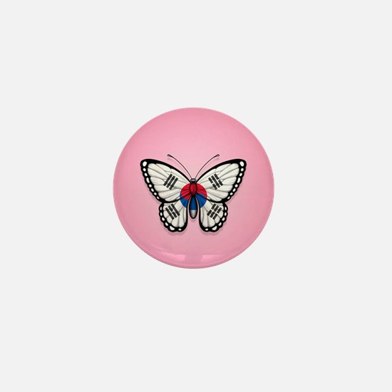 South Korean Flag Butterfly on Pink Mini Button