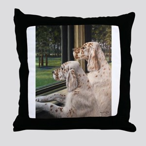 English Setter Puppies Throw Pillow