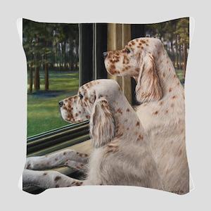 English Setter Puppies Woven Throw Pillow