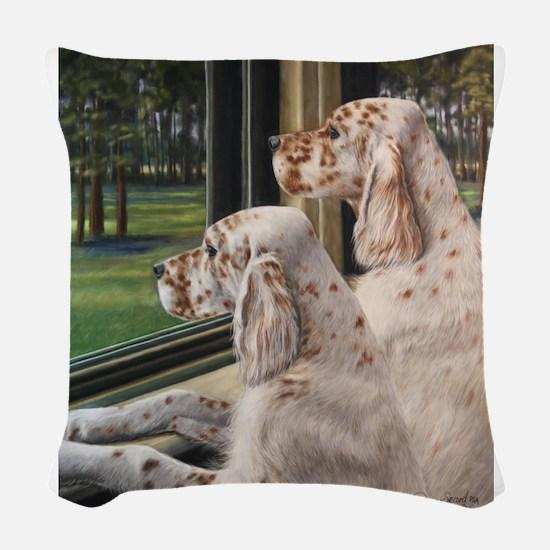 English Setter Puppies.JPG Woven Throw Pillow