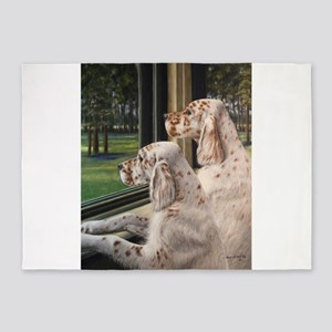 English Setter Puppies 5'x7'Area Rug