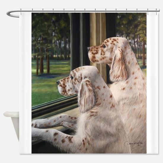 English Setter Puppies.JPG Shower Curtain