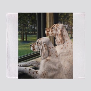 English Setter Puppies Throw Blanket