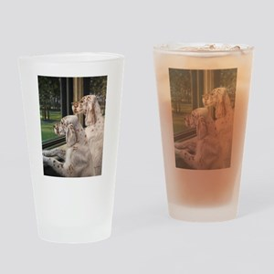 English Setter Puppies Drinking Glass