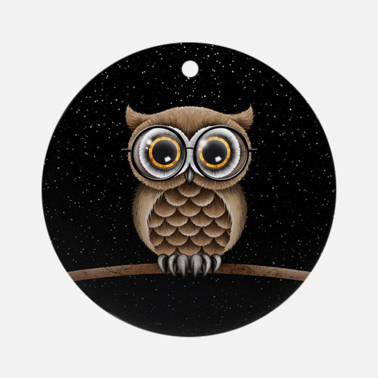 Cute Fluffy Brown Owl with Reading Glasses Stars O