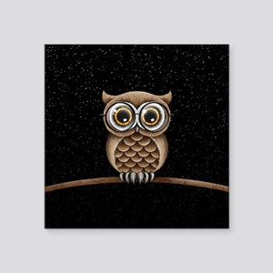 Cute Fluffy Brown Owl with Reading Glasses Stars S