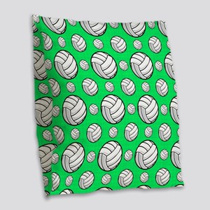 Neon Green Volleyball Pattern Burlap Throw Pillow