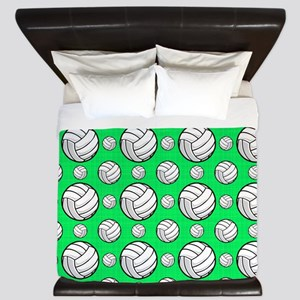 Neon Green Volleyball Pattern King Duvet