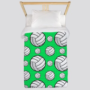 Neon Green Volleyball Pattern Twin Duvet