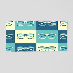 Hipster Glasses Aluminum License Plate