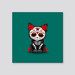 Cute Red Day of the Dead Kitten Cat on Teal Sticke