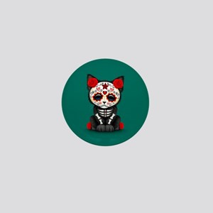 Cute Red Day of the Dead Kitten Cat on Teal Mini B