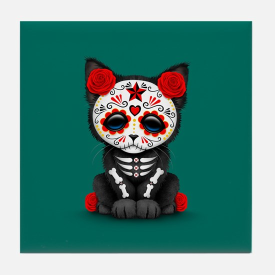 Cute Red Day of the Dead Kitten Cat on Teal Tile C