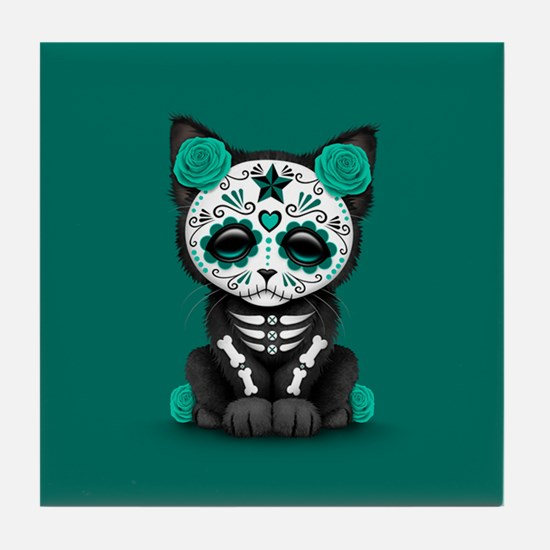 Cute Teal Day of the Dead Kitten Cat Tile Coaster