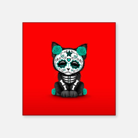 Cute Teal Day of the Dead Kitten Cat on Red Sticke