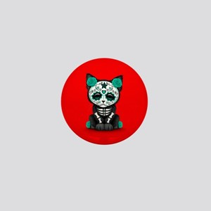 Cute Teal Day of the Dead Kitten Cat on Red Mini B