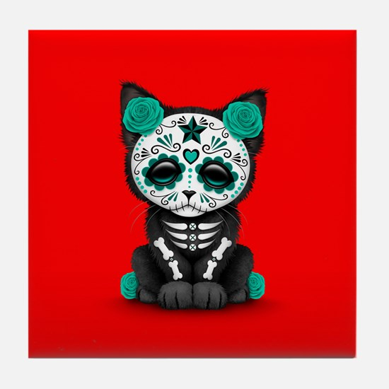 Cute Teal Day of the Dead Kitten Cat on Red Tile C