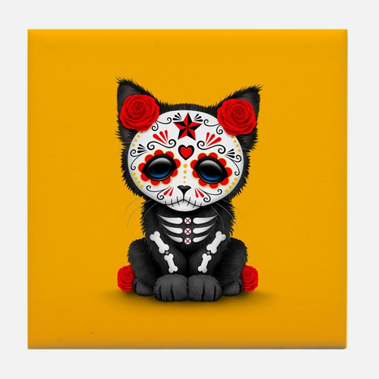 Cute Red Day of the Dead Kitten Cat on Yellow Tile