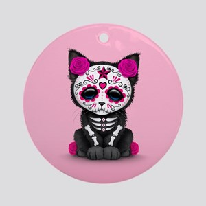 Cute Pink Day of the Dead Kitten Cat Ornament (Rou