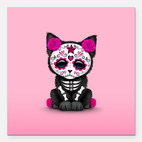Cute Pink Day of the Dead Kitten Cat Square Car Ma