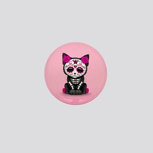 Cute Pink Day of the Dead Kitten Cat Mini Button