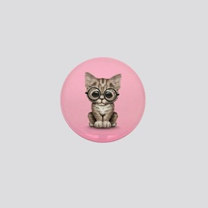 Cute Tabby Kitten with Eye Glasses on Pink Mini Bu