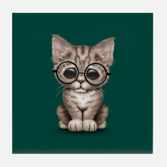 Cute Tabby Kitten with Eye Glasses on Teal Blue Ti