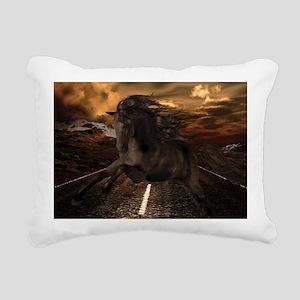 Black Stallion Rectangular Canvas Pillow