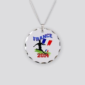 Soccer FRANCE Flag Necklace Circle Charm