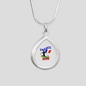 Soccer FRANCE Flag Silver Teardrop Necklace