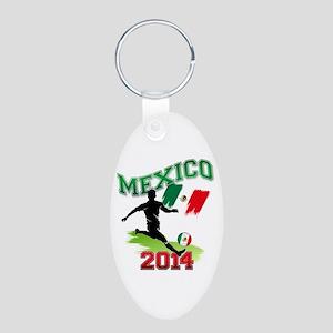 Soccer MEXICO Flag Aluminum Oval Keychain