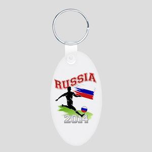 Soccer RUSSIA Flag Aluminum Oval Keychain