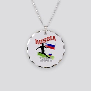 Soccer RUSSIA Flag Necklace Circle Charm