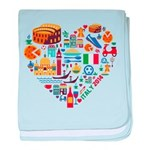 Italy World Cup 2014 Heart baby blanket