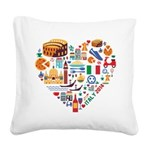 Italy World Cup 2014 Heart Square Canvas Pillow