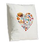 Italy World Cup 2014 Heart Burlap Throw Pillow