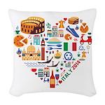 Italy World Cup 2014 Heart Woven Throw Pillow