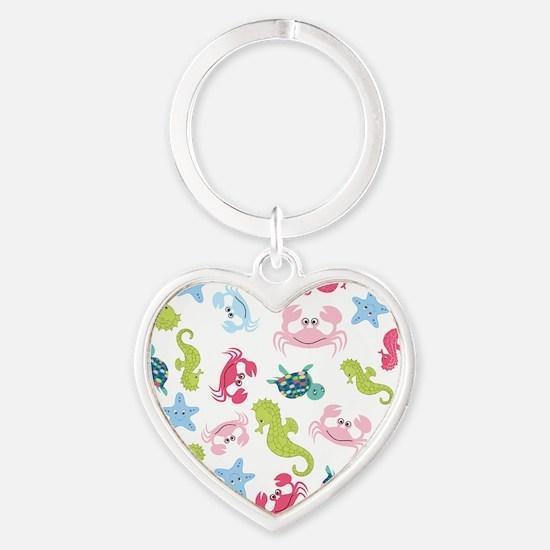 Ocean Babies on White Background Heart Keychain