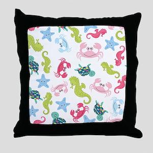 Ocean Babies on White Background Throw Pillow