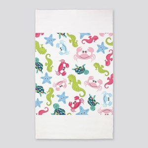 Ocean Babies on White Background 3'x5' Area Rug