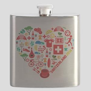 Switzerland World Cup 2014 Heart Flask