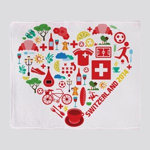 Switzerland World Cup 2014 Heart Throw Blanket