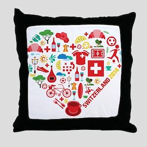 Switzerland World Cup 2014 Heart Throw Pillow