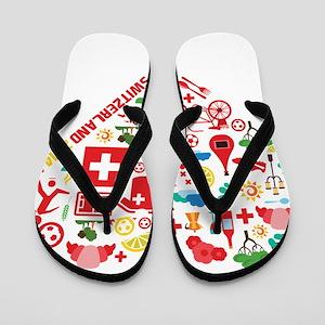 Switzerland World Cup 2014 Heart Flip Flops