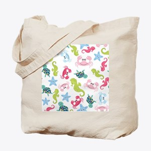 Ocean Babies on White Background Tote Bag