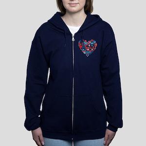 France World Cup 2014 Heart Women's Zip Hoodie