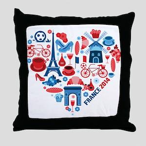 France World Cup 2014 Heart Throw Pillow