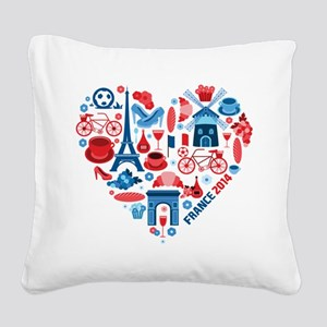 France World Cup 2014 Heart Square Canvas Pillow