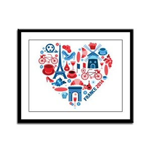 France World Cup 2014 Heart Framed Panel Print